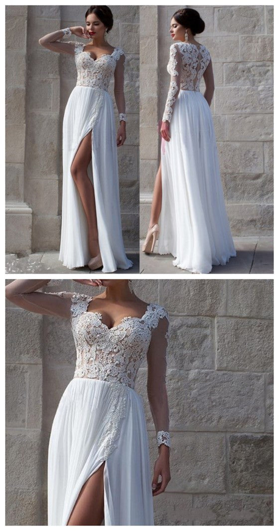 Charming Long Sleeve White Lace Top Chiffon Side Split Long A-line Wedding Party Prom Dresses,PD0072