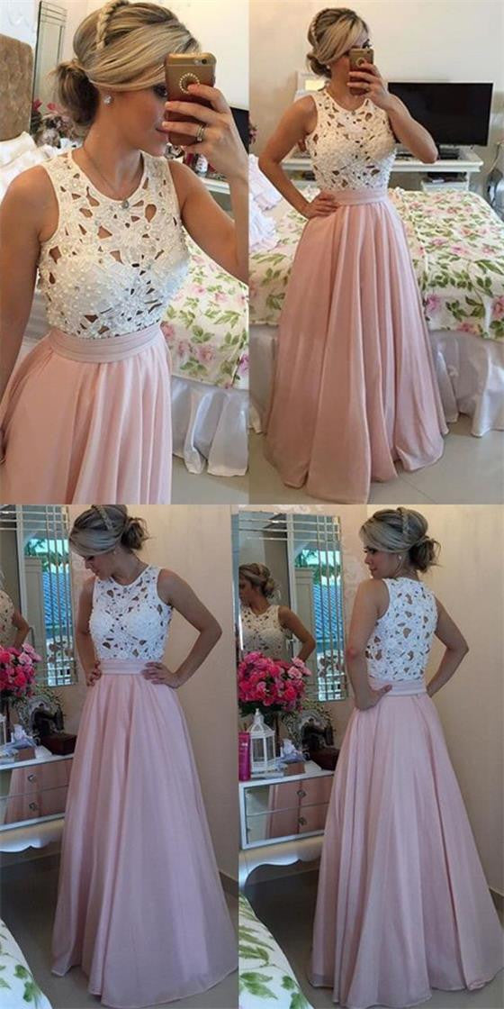 Long A-line White Lace Beading Top Pink Chiffon Skirt Jewel Neck Sleeveless Pretty Evening Party Prom Dresses,PD0073