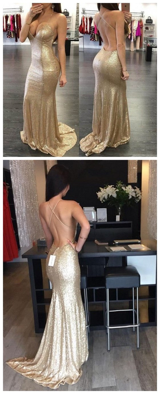 Long Gold Sequined Spaghetti Straps Criss-Cross Backless Mermaid Sexy V-neck Glitter Unique Prom Dresses,PD0075