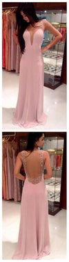 Long Column Pink Deep V-neck  Lace Spaghetti Strap Backless Pretty Evening party Prom Dresses,PD0076