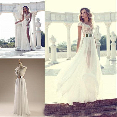 Cheap Popular Long  Column Cap Sleeve Sexy V-neck Split Side Gold Sash Floor Length Prom Gown Wedding Dress, WD0121