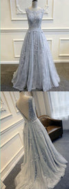 Long Custom Gray V-Back Scoop Tulle With Lace Appliques High School Party Prom Dresses ,PD0083
