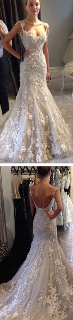 Elegant Spaghetti Strap Lace Appliques Mermaid Sexy Backless Prom Dresses Wedding Dresses, WD0129