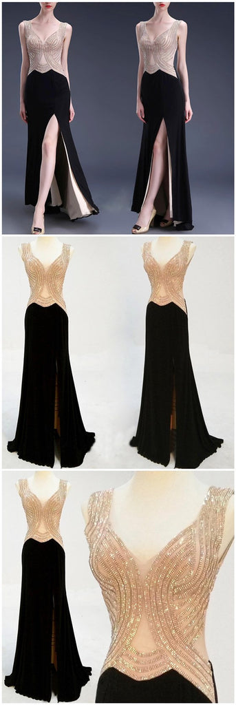 Elegant V-neck Sleeveless Split Side Beading Long Prom Dresses,PD0086