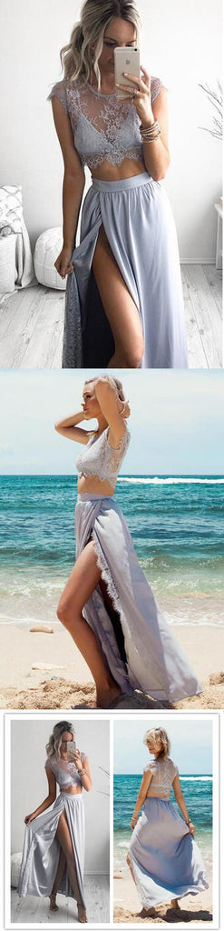 Newest Two Pieces Clairvoyant Outfit Lace Top Cap Sleeve Side Split Beach Party Prom Dress.PD0089