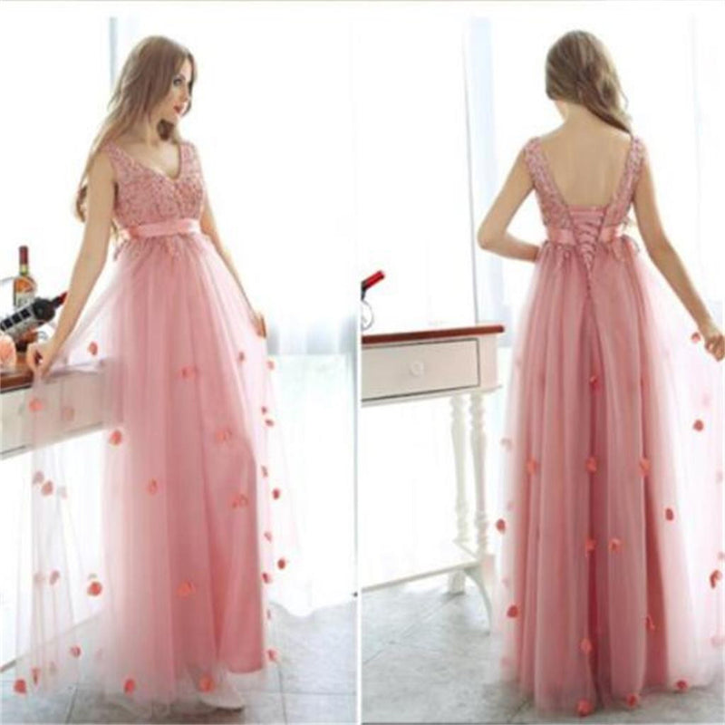 Long Pink Charming Tulle With Appliques Lace Up Back Scoop Neck Newest High Waist Prom Dresses,PD0090