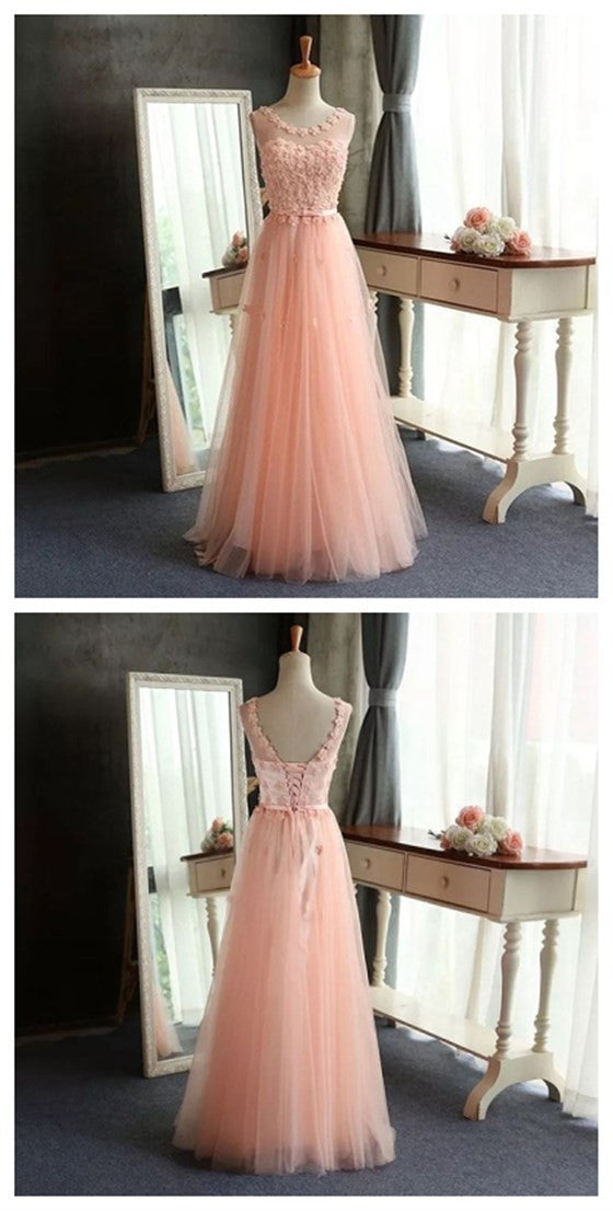 Pretty Long A-line Scoop Neck Sleeveless Popular Lovely Peach Handmade Flowers Evening Party Prom Dresses,PD0096