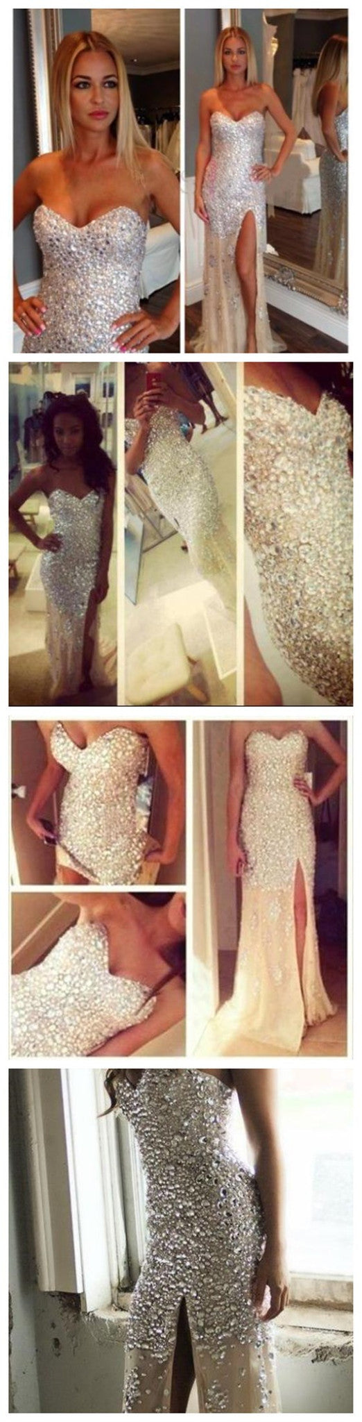 Long Sparkly Rhinestone Charming High Slip Side Strapless Evening Party Prom Dresses,PD0098