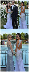 Long Sparkly Rhinestone Charming Open Back Sweetheart Sexy  Chiffon Evening Party Prom Dress,PD0099