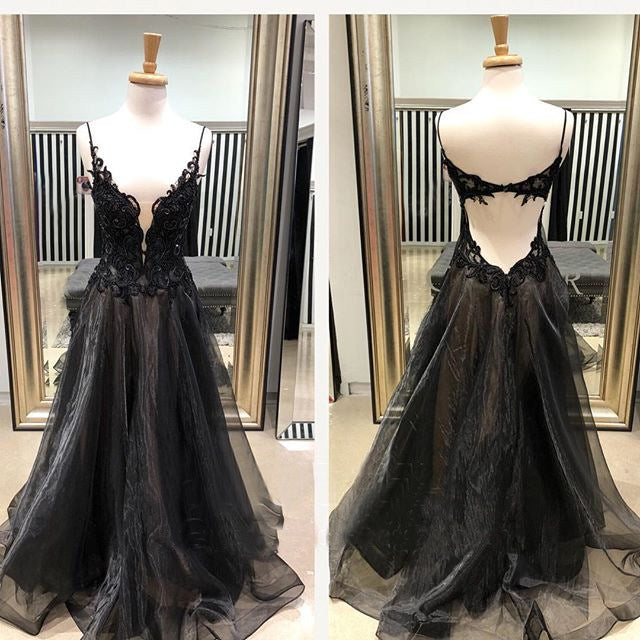 Black Applique Organza Spaghetti Strap Open Back Prom Dresses, DB1087