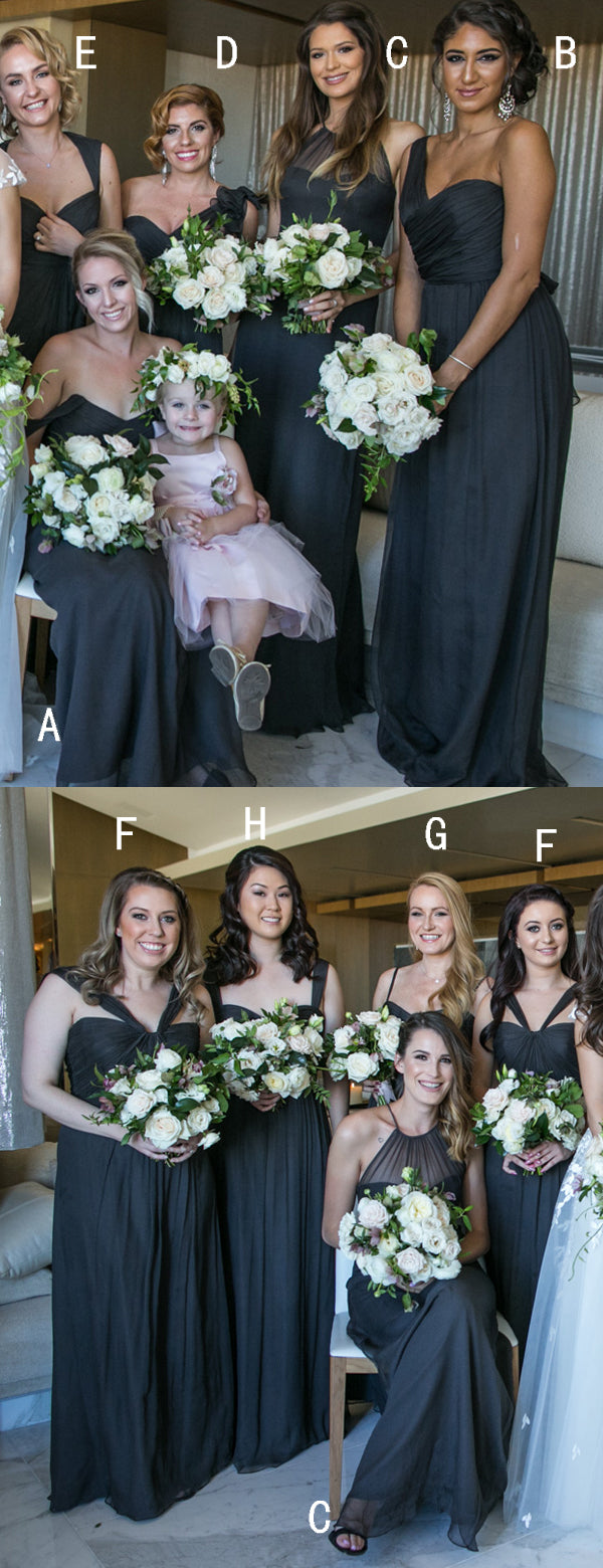 Black Chiffon Mismatched Elegant Long Bridesmaid Dresses ,DB139