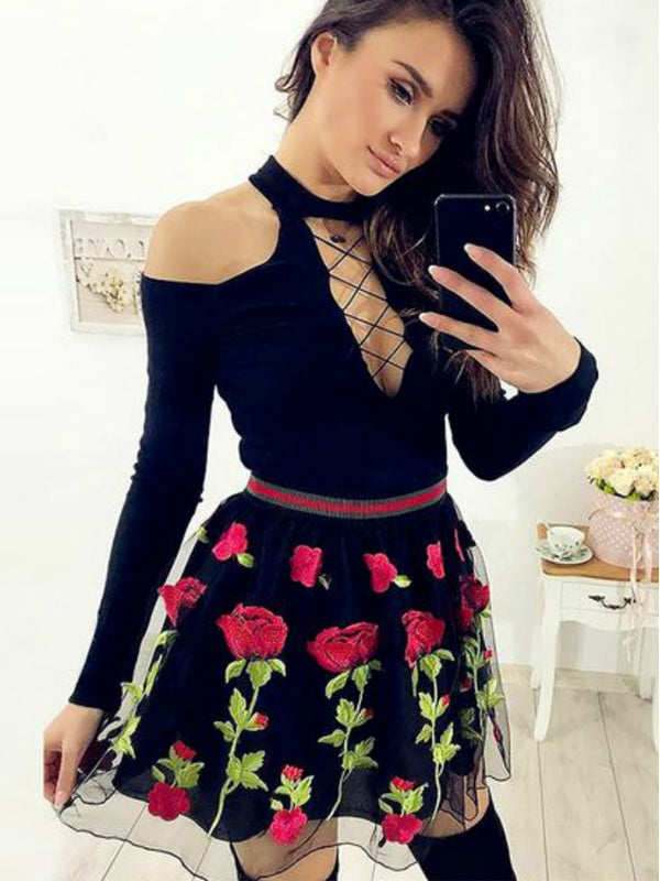 Black Jersey Long Sleeve Embroidery Homecoming Dresses,BD0182