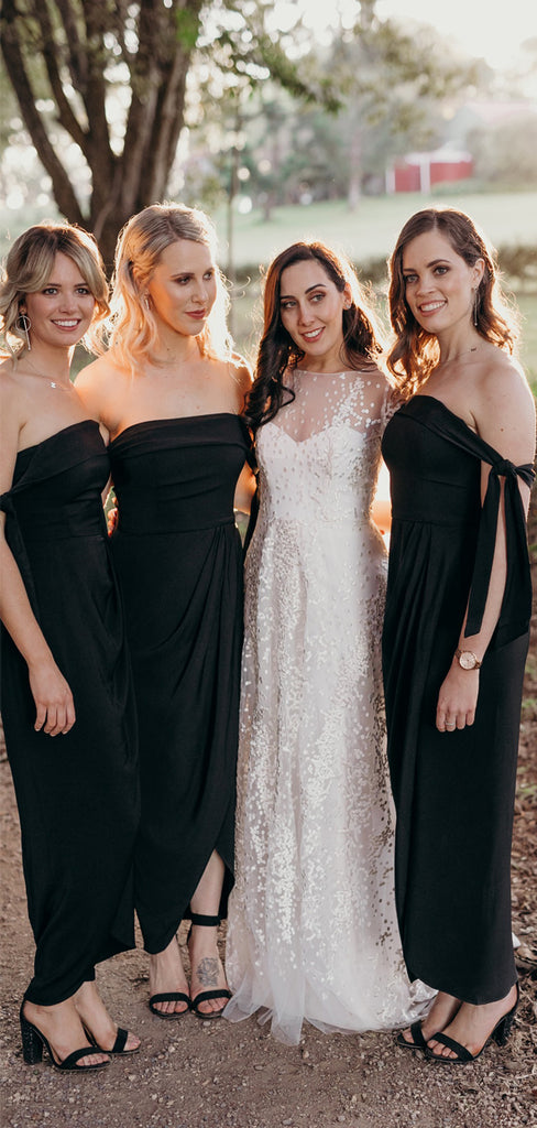 Black Jersey Off Shoulder Sheath Ankle Length Bridesmaid Dresses,DB142