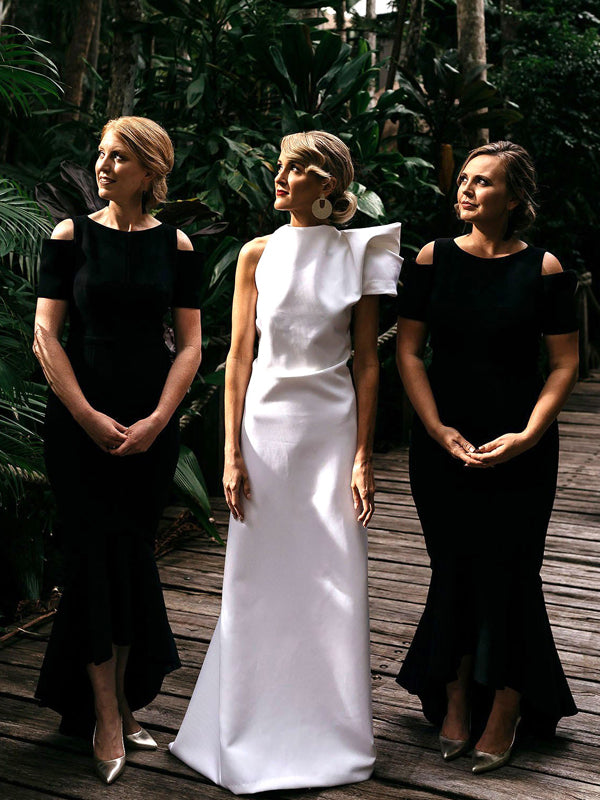 Black Jersey Short Sleeve High Low Mermaid Bridesmaid Dresses,DB127