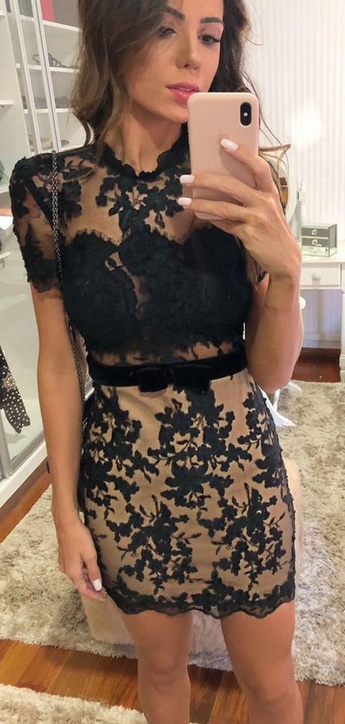 Black Lace Nude Sheath Open Back Short Sleeve Homecoming Dresses,BD0183