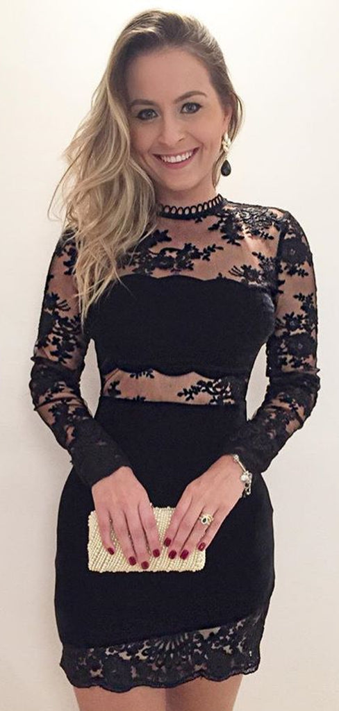 Black Lace Sheath Long Sleeve See Through Homecoming Dresses,BD0183