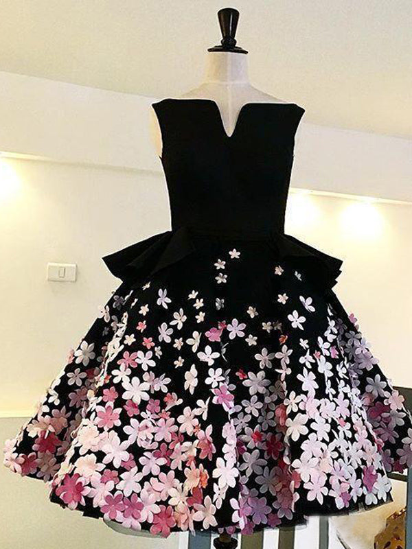 Black Satin Pink Floral Appliques Homecoming Dresses,BD0189