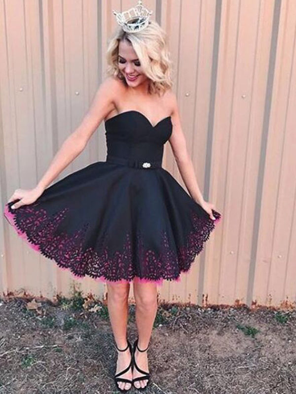 Black Satin Pink Tulle Lace Hemline Strapless Homecoming Dresses,BD0206