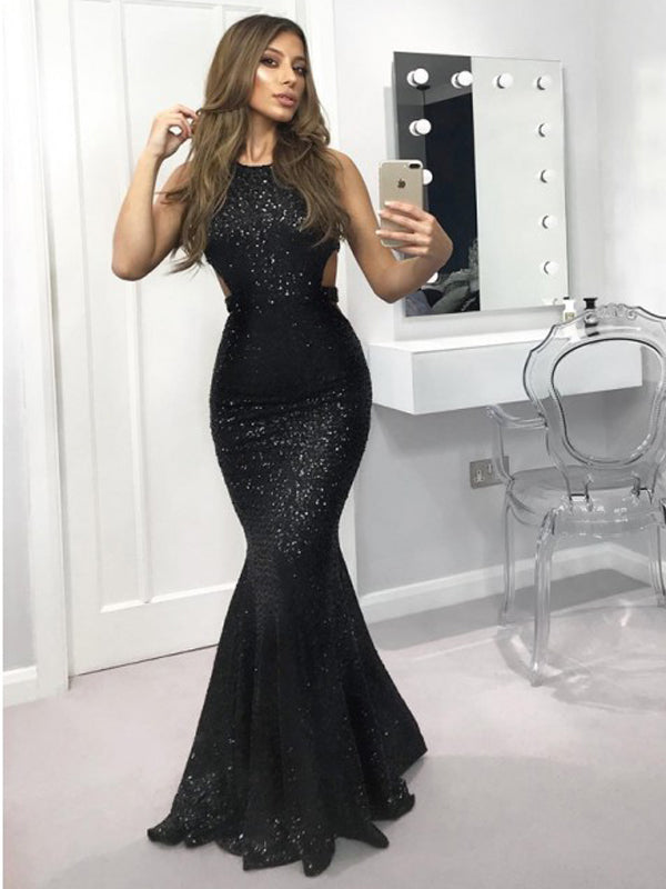 Black Sequin Open Back Mermaid Sleeveless Long Formal Prom Dresses, DB1105