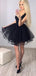 Black Tulle Square Neckline Sleeveless Tiered Homecoming Dresses,BD0192