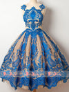 Blue Lace Appliques Keyhole Back Princess Homecoming Dresses,BD0153