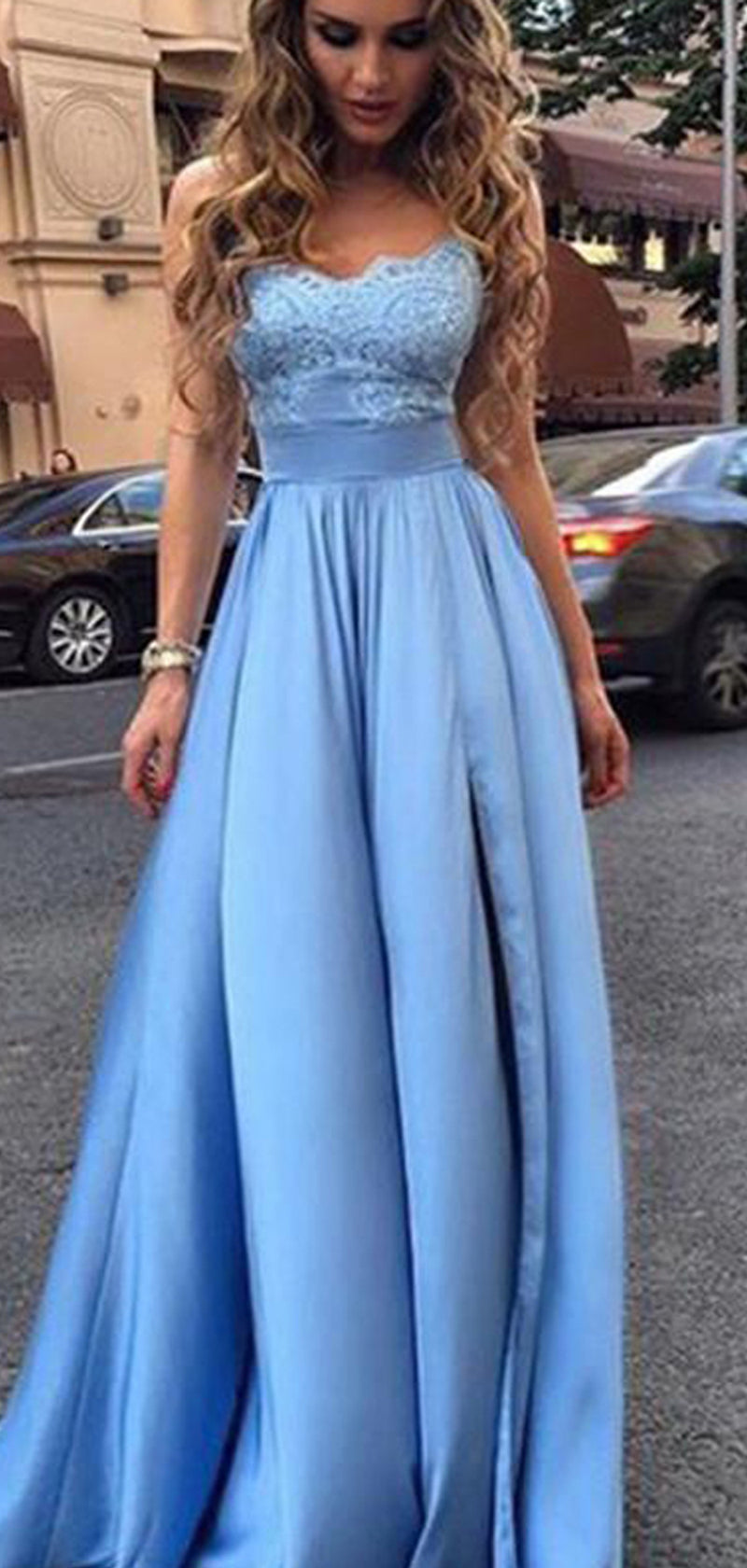 Blue Lace Satin A-line Sleeveless Prom Dresses , DB1085