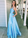 Blue Satin Sleeveless V-neck Lace Up Back A-line Senior Prom Dresses, DB1107