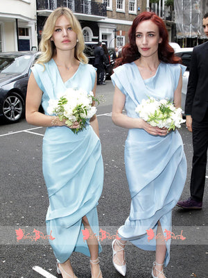 Blue Sparkly Satin Sheath Cap Sleeve Bridesmaid Dresses With Front Split,DB111