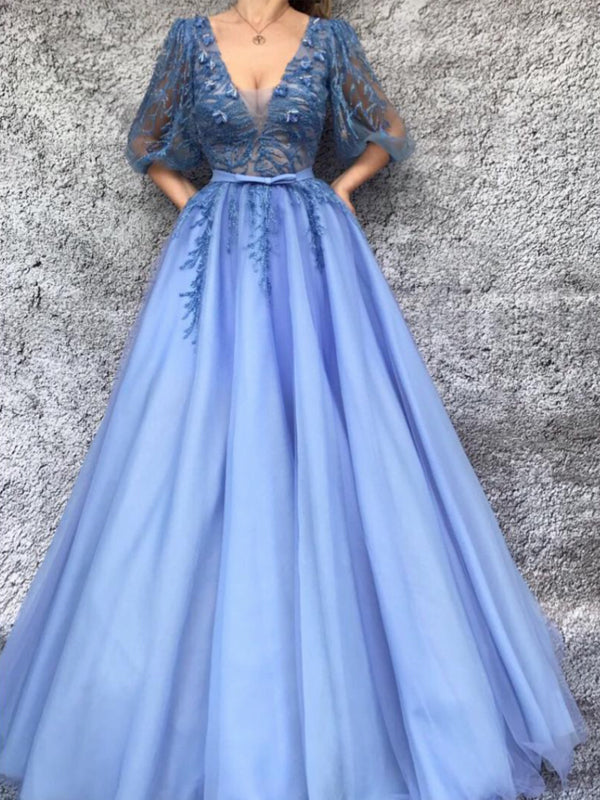 Blue Tulle Applique Half Sleeve V-neck A-line Formal Prom Dresses , DB1097