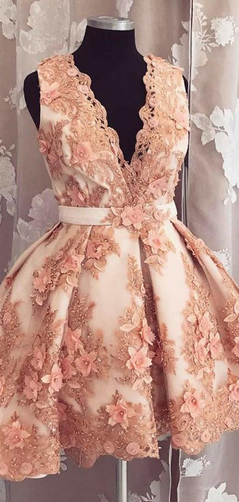 Blush Pink 3D Lace Applique V-neck Gorgeous Homecoming Dresses,BD0194