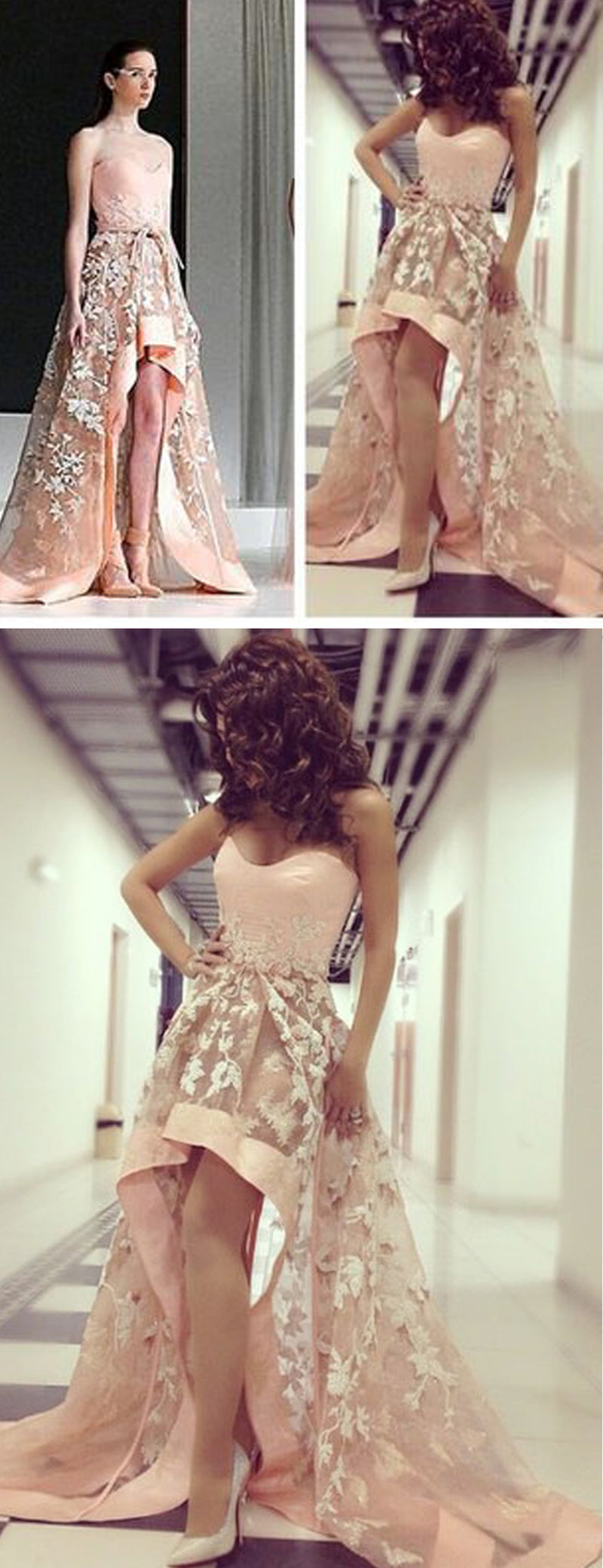High Low Strapless Lace Prom Dresses, DB1080