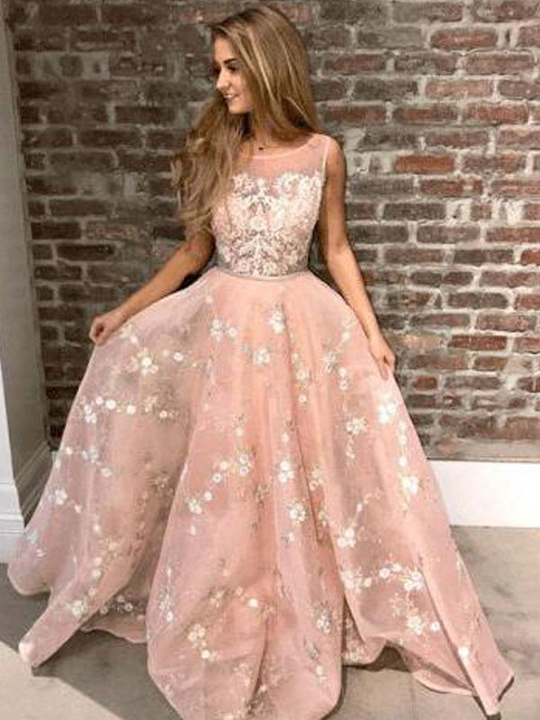 Blush Pink Lace A-line Prom Dresses,DB1079