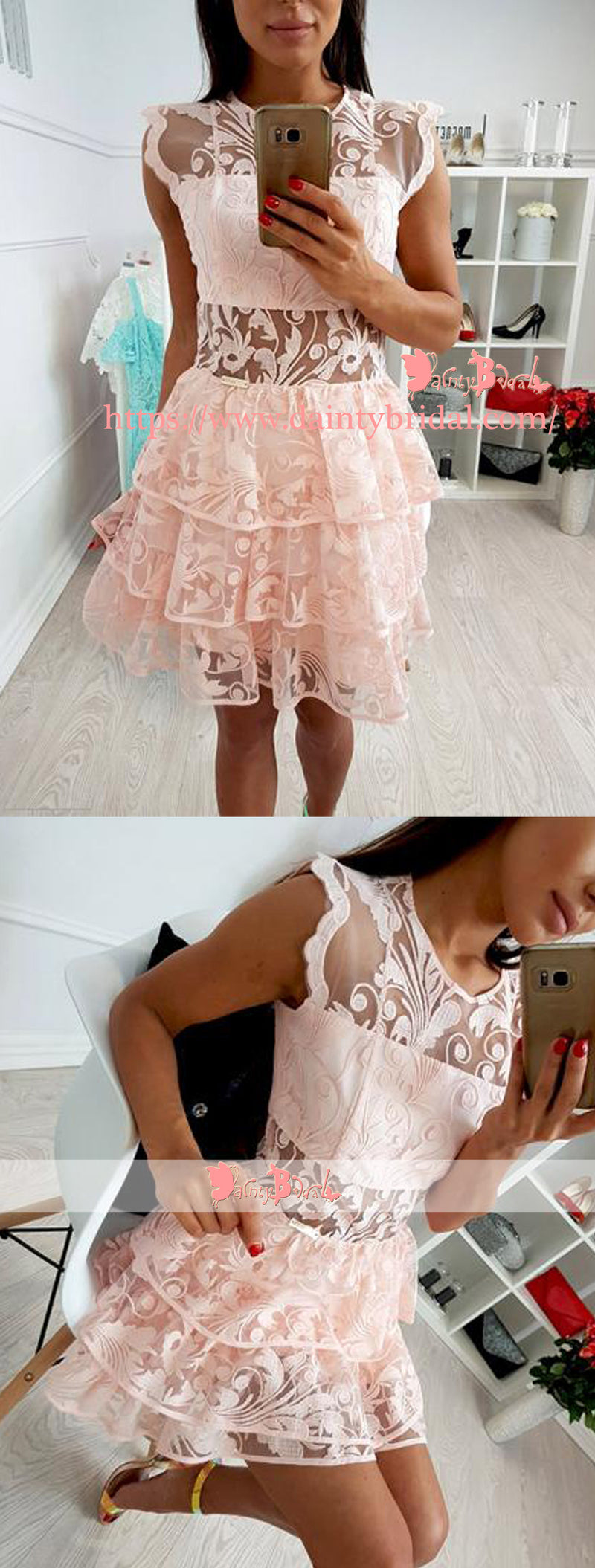 Blush Pink Lace See Through Tulle Tiered Bottom Homecoming Dresses ,BD0156