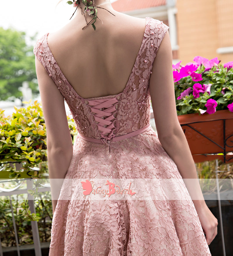 Blush Pink Lace With Beads Cap Sleeve Lace Up Back Homecoming Dresses,BD0166