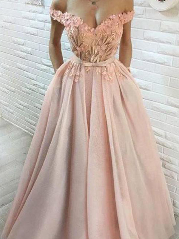 Blush Pink Tulle Applique Off Shoulder Prom Dresses, DB1100