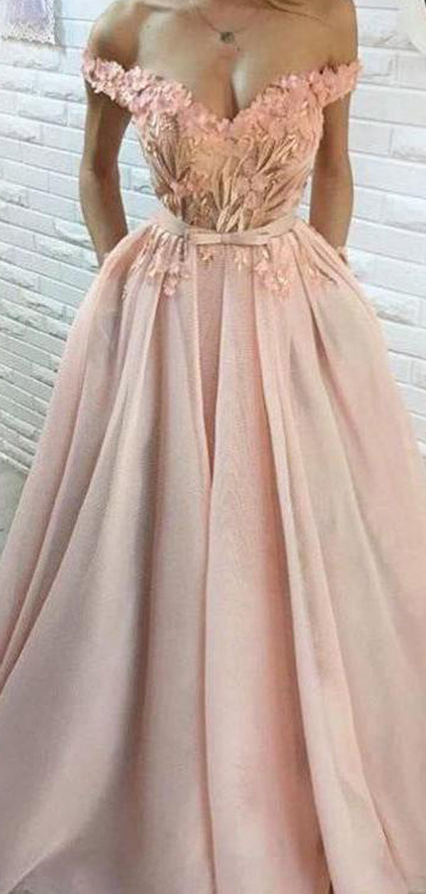 acd15f25e8 Blush Pink Tulle Applique Off Shoulder Prom Dresses