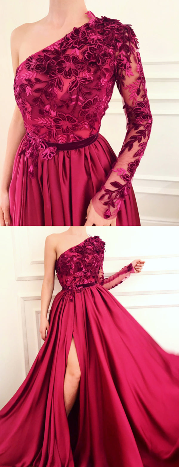 Burgundy Applique Long Sleeve One Shoulder Prom Dresses, DB1091