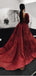 Burgundy Long Sleeve Shiny Lace Beading Ball Gown Prom Dresses, DB1102
