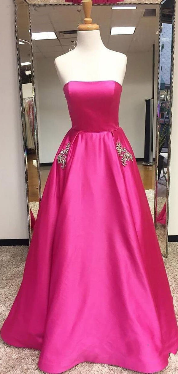 cb4789e1def Cerise Pink Satin Beaded Pockets Strapless Ball Gown Sweet-16 Prom Dresses,  DB1126