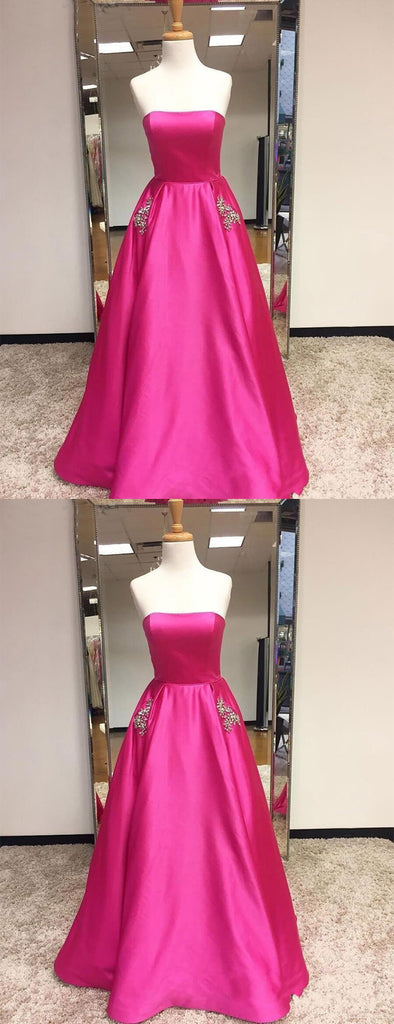 Cerise Pink Satin Beaded Pockets Strapless Ball Gown Sweet-16 Prom Dresses, DB1126