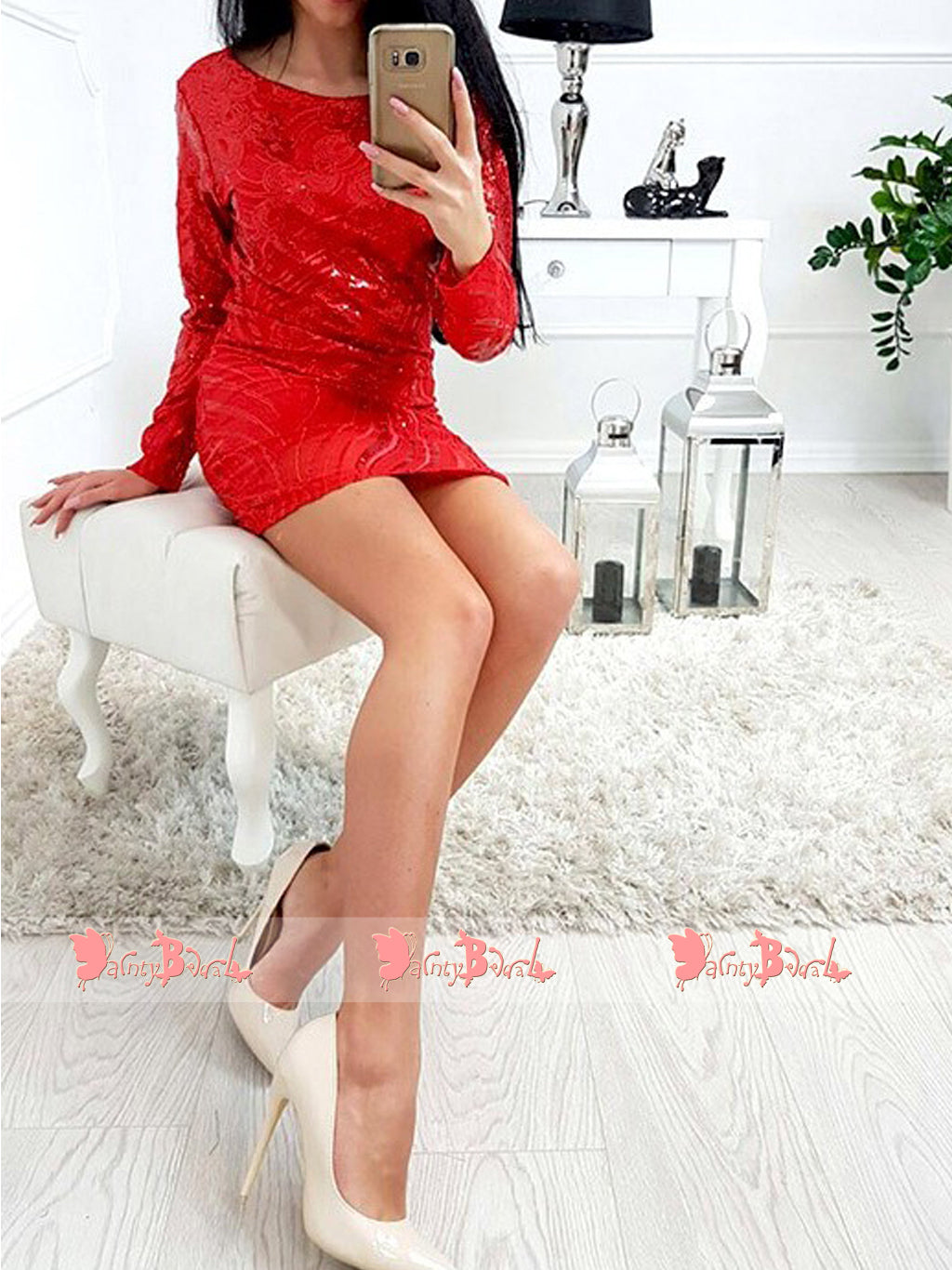 Charming Red Short Tight Backless Sparkly Cocktail Homecoming Dresses With Long Sleeves,BD0160