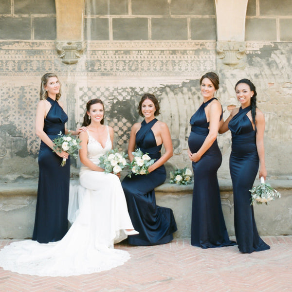 Convertible Dark Navy Jersey Sexy Elegant Long Bridesmaid Dresses,DB106