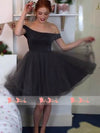 Dark Grey Tulle Off Shoulder Simple Cheap Cocktail Homecoming Dresses,BD0161