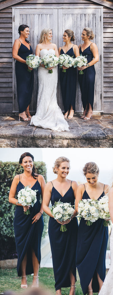Dark Navy Jersey Spaghetti Strap V-neck Sheath High Low Bridesmaid Dresses,DB133
