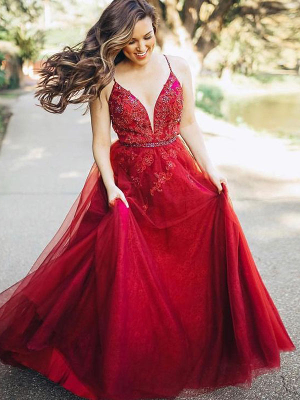 Dark Red Spaghetti Strap Applique Beading Tulle A-line Prom Dresses, DB1093