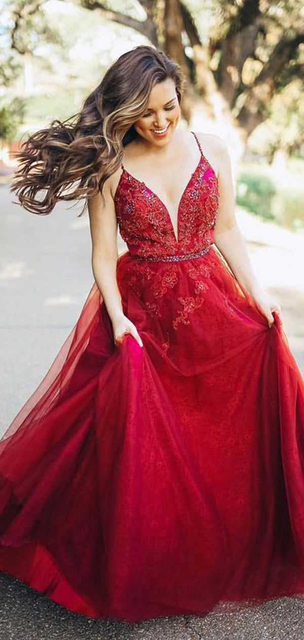 0d607ee41 Dark Red Spaghetti Strap Applique Beading Tulle A-line Prom Dresses ...
