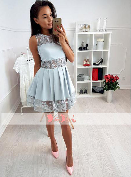 Dusty Blue See Through Lace Round Neck Homecoming Dresses For Teens,BD0157