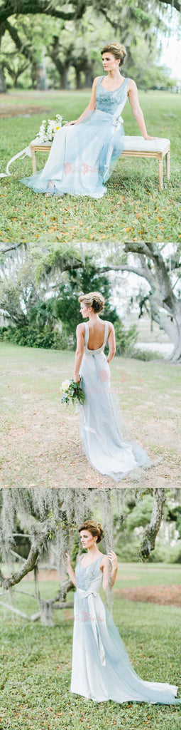 Dusty Blue Tulle Sparkly Rhinestone Scoop Backless Wedding Dresses,DB0150