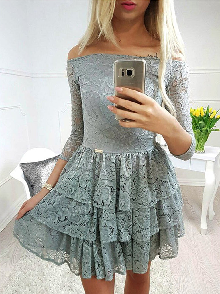 Dusty Green Off Shoulder Lace Tiered With Sleeve Homecoming Dresses,BD0174