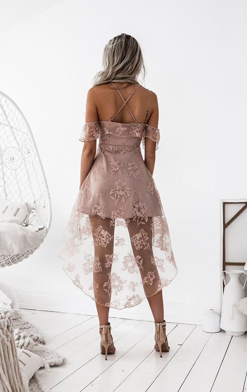 Dusty Pink Lace High Low Spaghetti Straps Homecoming Dresses,BD0170